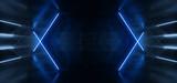 Fototapeta Scene - Blue Glowing Laser Lights In Concrete Alien Sci Fi Futuristic Empty Tunnel Garage Hallway Gate Background Virtual Reality 3D Rendering