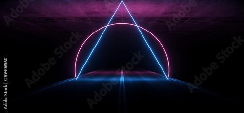 Fototapeta  Asphalt Road Sci Fi Futuristic Neon Glowing Laser Show Tunnel Corridor Undergrou