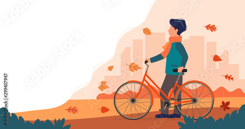 Man with a bike in autumn. Cute vector illustration in flat style.