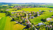 Aerial view of village in countryside. Stahlavice in west Bohemia, Czech republic, European union.