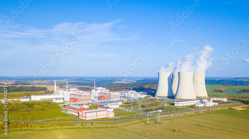 Fototapeta Aerial view of nuclear power plant Temelin. South bohemia in Czech republic, European union. Large nuclear power station from above. Background concept. obraz