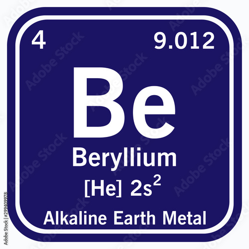 Photo Beryllium Periodic Table of the Elements Vector illustration eps 10