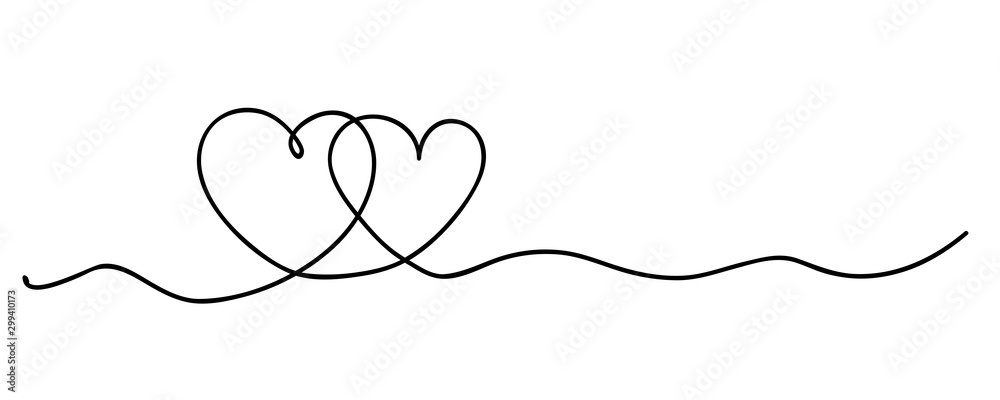 Fototapety, obrazy: Hearts. Continuous line art drawing. Friendship concept. Best friend forever. Black and white vector illustration.