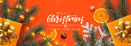 Fototapeta Holiday background Merry Christmas and Happy New Year. Xmas design with realistic festive objects, Pine and spruce branches, sparkling lights garland, gift box, silver snowflake, balls bauble. obraz