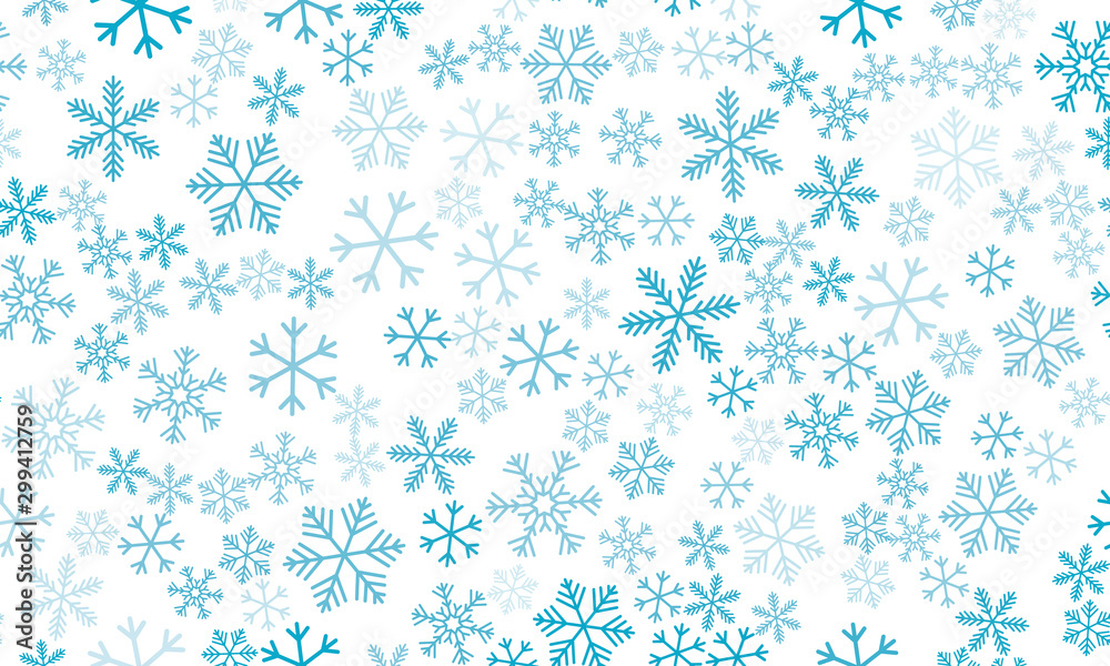 Fototapeta Seamless background with snowflakes. Beautiful translucent snowflakes on a transparent background