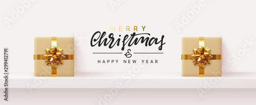 Foto op Canvas Wild West Holiday banner Merry Christmas and Happy New Year. Xmas background design with realistic festive objects, gift box stand on shelf, podium. Festive Horizontal banner, poster, header for the web site.