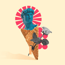 New Look. Statue As An Icecream On Yellow Background With Geometric Elements And Rose. Negative Space To Insert Your Text. Modern Design. Contemporary Colorful And Conceptual Bright Art Collage.