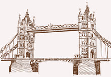 Graphical Vintage Sketch Of Tower Bridge In London ,vector Sepia Illustration