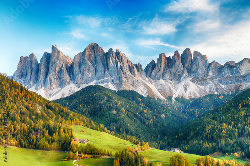 Canvas Print Beautiful landscape of Italian dolomites - Santa maddalena