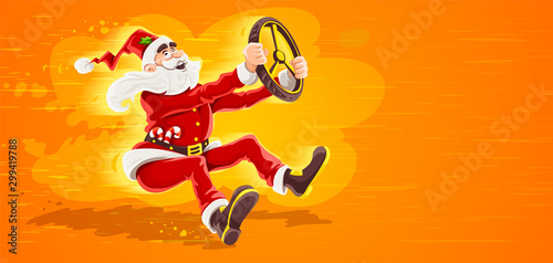 Fotobehang Cartoon cars Christmas Santa Claus drives vehicle with wheel of virtual car. High-speed driving to holiday. Cartoon character in red suit with beard as symbol of christmas. Eps10 vector illustration.