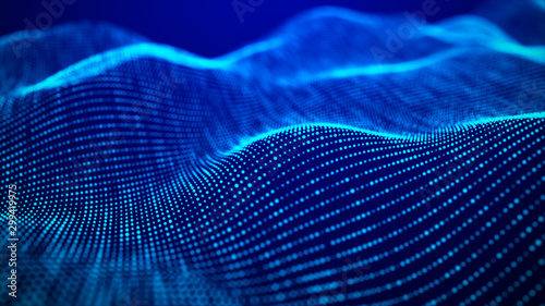 Foto auf AluDibond Dunkelblau Wave of particles. Futuristic blue dots background with a dynamic wave. Big data. 3d rendering.