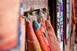 Leinwanddruck Bild - Ethnic handmade cushions in bazzar market in Marrakech, Marocco