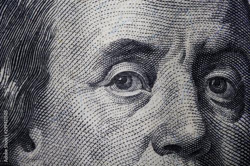 Fotografía Franklin eyes 100 dollar cash macro