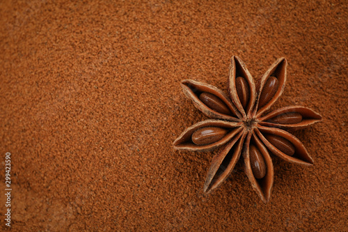 Photo Cinnamon powder and anise star background, space for text