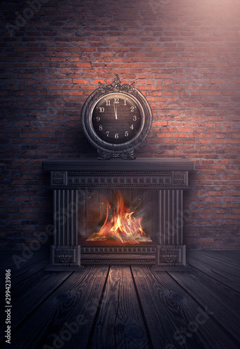 Dark room with brick walls. Wooden fireplace, a fire burns. Interior scene, night view of the room. Big clock over the fireplace. The magical atmosphere of Christmas and New Year. Fototapete
