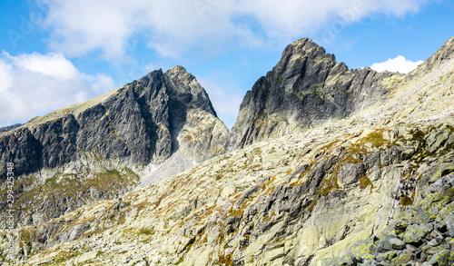 Fototapeta Peaks (Javorovy stit - Jaworowy Szczyt and Ostry stit - Ostry Szczyt) in the High Tatras in Slovakia belonging to the Main Ridge of the Tatras. View on a beautiful sunny autumn day. obraz