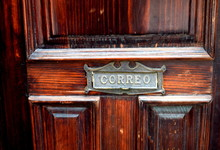 Old Door With Mail Slot In Mexico
