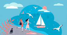 Seafront Vector Illustration. ...