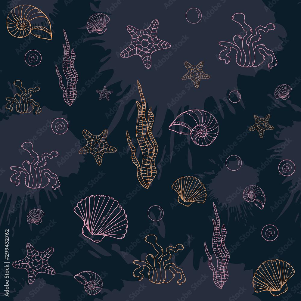 Marine algae,seamless pattern