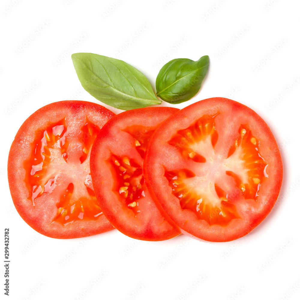Fototapety, obrazy: Slices of tomato and basil leaves isolated on white background. Top view, flat lay.
