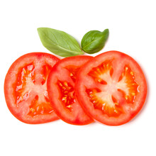 Slices Of Tomato And Basil Lea...