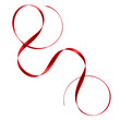 Shiny satin ribbon in red color isolated on white background close up .Ribbon image for decoration design.
