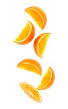 Falling Fresh Orange Fruit Sli...