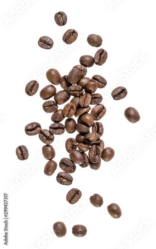 Coffee beans isolated on white background. Top view. Flat lay. Coffee beans flow in air, without shadow.