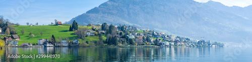 Foto auf Gartenposter Himmelblau Panoramic view of cityscape of Lucerne lake in daylight ,Switzerland