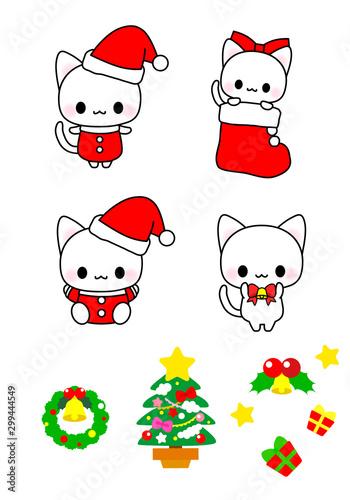 Printed kitchen splashbacks Illustrations クリスマス素材・アイコン・かわいい猫ちゃんのクリスマスイラスト詰め合わせ