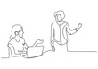 Continuous one line drawing of business discussion vector. Minimalism concept of two persons discuss with a laptop.
