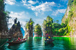canvas print picture Group of adventure travelers on boat joy beautiful nature scenic landscape Khao Sok national park, Amazing landmark travel Thailand, Tourist people on holiday vacation trips, Tourism destination Asia