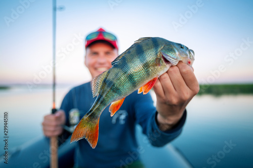 Pinturas sobre lienzo  Young amateur angler holds perch fish (Perca fluviatilis) and smiles being on th