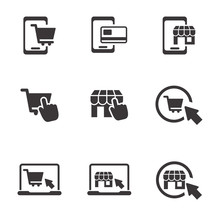 Set Of E-commerce Icon With Si...