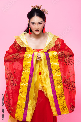 Red Gold lace of Chinese Traditional Costume Opera or South East Asia Reddish Dr Canvas Print
