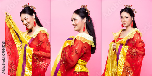 Photo  Red Gold lace of Chinese Traditional Costume Opera or South East Asia Reddish Dr