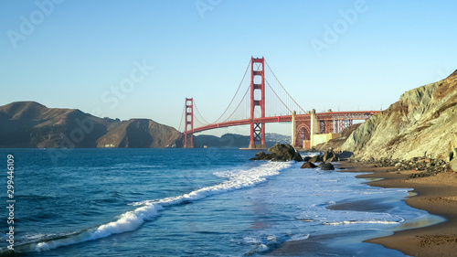 wide angle shot of golden gate bridge from marshall beach in san francisco Wallpaper Mural