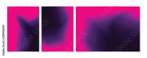 Fototapeta Purple gradient pink paper poster textured with wavy layers. paper cut deeps style. obraz