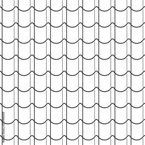 Fototapeta Abstract seamless fish scale pattern, black and white tile roof asian style. Design geometric texture for print. Linear style, vector illustration obraz
