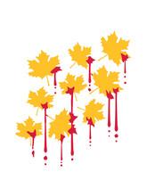 Graffiti Blut Tropfen Rotes Ahornblatt Muster Herbst Winter Bunt Farben Blatt Ahorn Baum Natur Schön Herbstlich Jahreszeit Design Clipart Logo Cool Hübsch