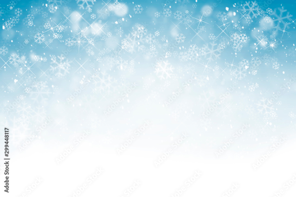 Fototapety, obrazy: Winter background with snowflakes, stars and falling snow
