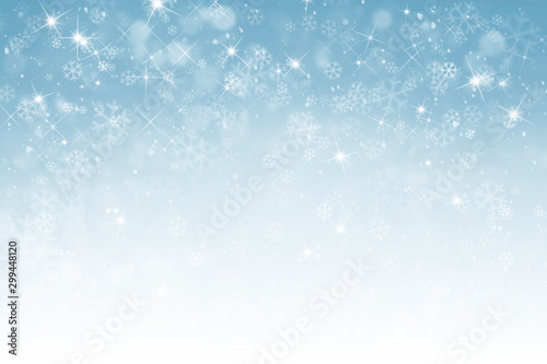 Poster Equestrian abstract winter background with snowflakes