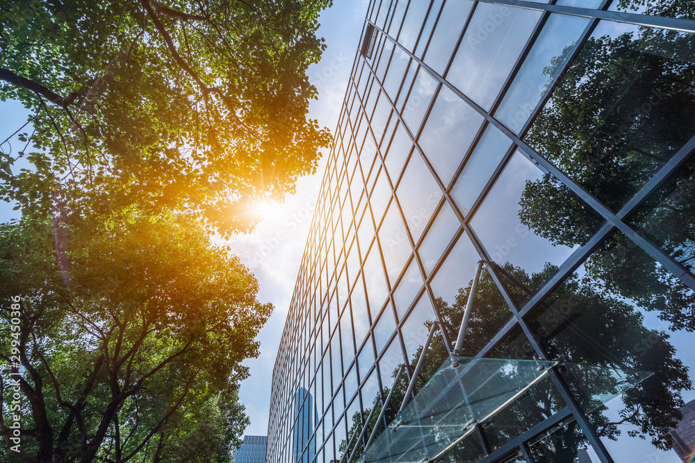 Fototapeta modern office building with green leaves.