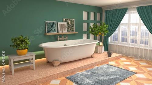 Fototapeta Bathroom interior. 3D illustration. Bath obraz na płótnie