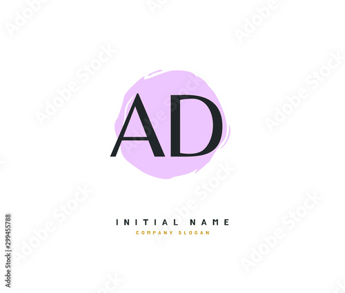 Pinturas sobre lienzo  A D AD Beauty vector initial logo, handwriting logo of initial signature, wedding, fashion, jewerly, boutique, floral and botanical with creative template for any company or business