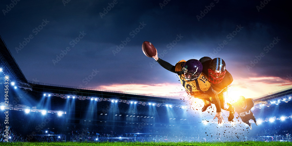 Fototapety, obrazy: American football players fight for ball. Mixed media