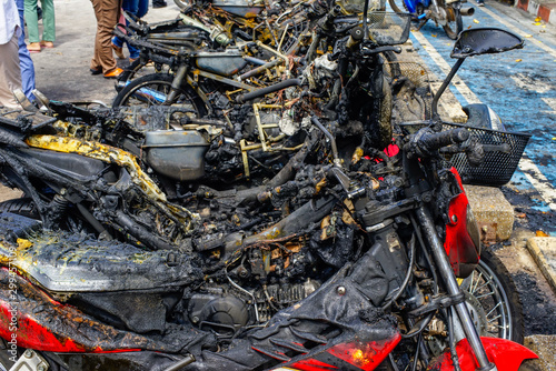 Photo Motorcycle was burned from the arsonist of the terrorists