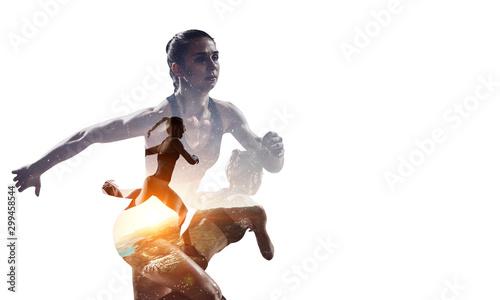Athlete woman on white. Mixed media