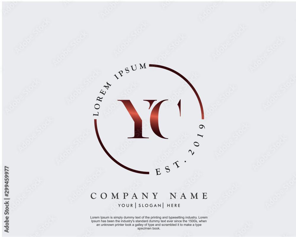 Fototapety, obrazy: Initial letter YC beauty handwriting logo vector