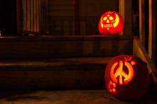 Hallowween Pumpkins Waiting For Trick Or Treaters To Call By At This Spooky Time Of Year